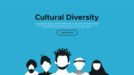 Modello di pagina di destinazione della diversità culturale con illustrazione di persone diverse. Concetto di progetto web della comunità internazionale. Vettoriali