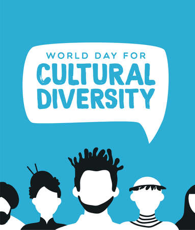 Cultural Diversity world day illustration for diverse community concept with social people group.