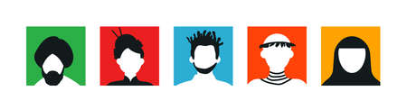 Diverse people face icons or avatars in colorful background. Head portraits from asian, american and african cultures.