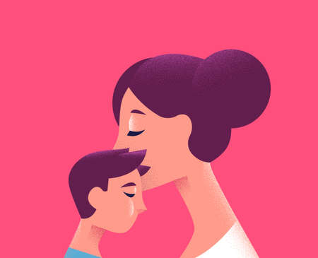 Mother and kid on isolated pink background. Mom kissing son for motherhood concept or special holiday. Иллюстрация