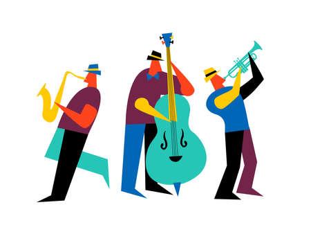 Banda de jazz sobre fondo blanco aislado. Reproductores de música masculinos con saxofón, contrabajo y trompeta.