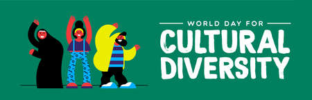 Cultural Diversity Day web banner illustration. Happy friend group of diverse ethnic people. Stock Illustratie