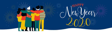 Happy New Year 2020 bannerillustration of young people friend group hugging together with fireworks in night sky. Diverse culture friends team celebrating.