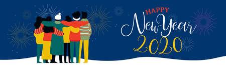 Feliz año nuevo 2020 bannerilustración de grupo de amigos jóvenes abrazándose junto con fuegos artificiales en el cielo nocturno. Equipo de amigos de cultura diversa celebrando.