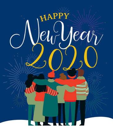 Happy New Year 2020 greeting card illustration of young people friend group hugging together with fireworks in night sky. Diverse culture friends team celebrating.