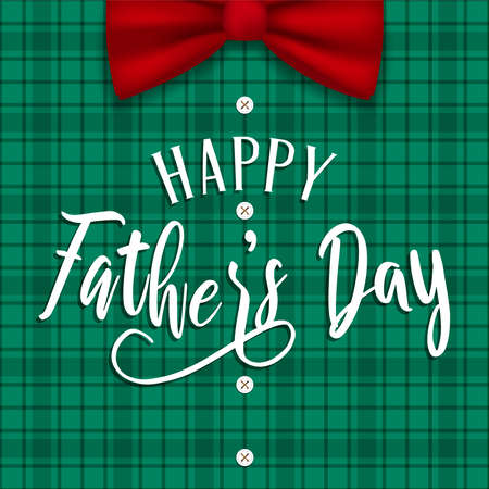 Fathers Day greeting card illustration for special family holiday.  Plaid shirt background with bow tie and buttons.