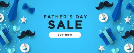 Bannière web de vente de bonne fête des pères pour une remise spéciale pour les vacances de papa. Icônes découpées en papier 3D de cravate, moustache, cadeau et plus encore sur fond bleu.