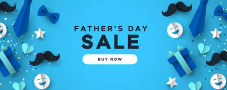 Happy Father's Day sale web banner for special dad holiday discount. 3D paper cut icons of tie, mustache, gift and more on blue color background.
