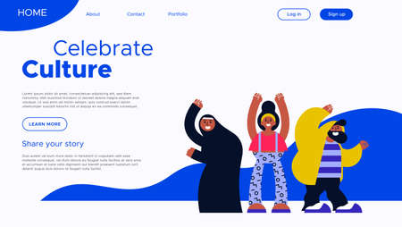 Celebrate culture landing page template with diverse friend group illustration. International community web project concept.