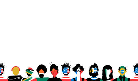 Diverse social group of people with country flags on copy space background. Includes european, african, asian and american cultures.
