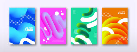 Abstract background template set. Modern 3d shape in colorful style for business presentation, brand or creative concept.
