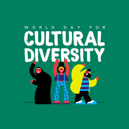 Cultural Diversity Day greeting card illustration. Happy friend group in colorful modern style with muslim woman for diverse community concept. Illustration
