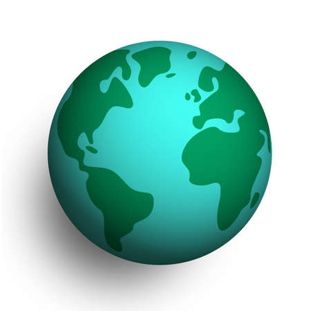 3D Earth planet on white isolated background. Globe with america, africa and europe.