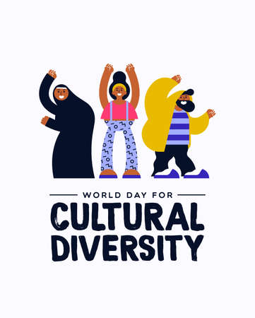 Cultural Diversity Day greeting card illustration. Happy friend group in colorful modern style with muslim woman for diverse community concept. Stock Illustratie