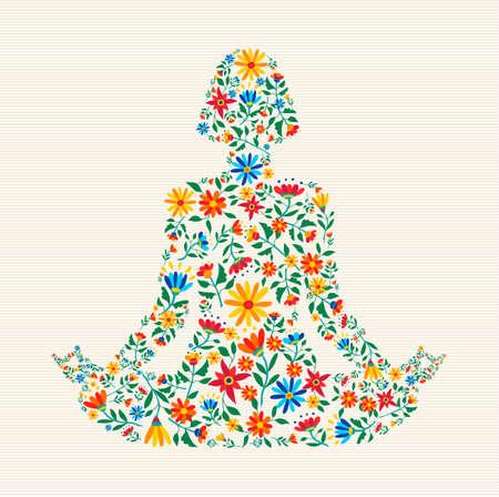 Silhouette de femme faisant du yoga lotus pose faite de fleurs printanières colorées pour le concept de connexion nature. Vecteurs