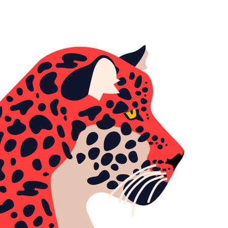 Wild jaguar animal illustration. Hand drawn tiger or feline on isolated white background.