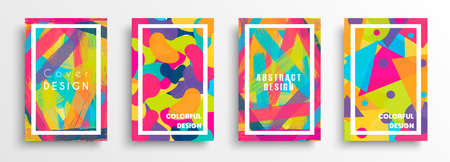 Abstract background design set. Modern flat shape in colorful style for business presentation, brand or creative concept. Stock Illustratie