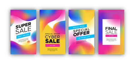 Abstract mobile phone sale background set. Colorful holographic gradient design for special internet discount concept.