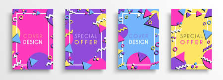 Abstract colorul background design set. Flat shapes and 80s style decoration card for business presentation, brand or creative concept.