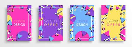 Abstrakter farbiger Hintergrund-Designsatz. Flache Formen und Dekorationskarte im Stil der 80er Jahre für Geschäftspräsentation, Marke oder kreatives Konzept.