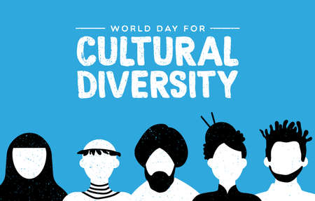 Cultural Diversity Day greeting card illustration. Diverse social group of people includes african, asian and american cultures.