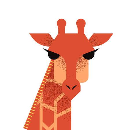 Giraffe animal illustration in flat cartoon style on isolated white background.