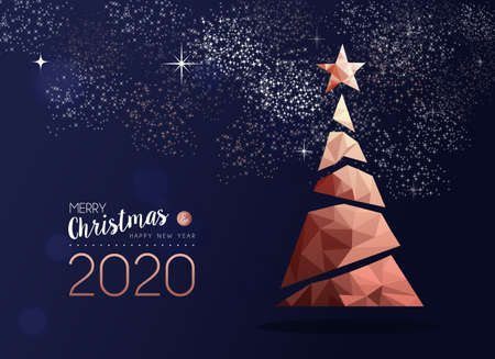 Merry christmas and happy new year 2020 copper pine tree in triangle low poly style. Xmas greeting card or elegant holiday party invitation.