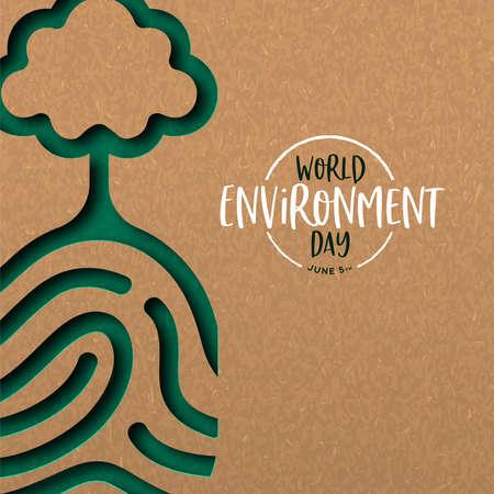 Ilustración del Día Mundial del Medio Ambiente de la huella dactilar humana papercut con el árbol. Recorte de papel reciclado para la conservación del planeta.