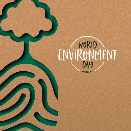 World Environment Day illustration of papercut human finger print with tree. Recycled paper cutout for planet conservation. Archivio Fotografico - 130838755