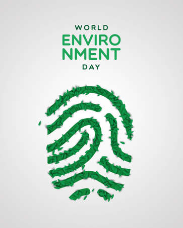 World Environment Day greeting card illustration. Realistic human finger print made of green plant leaves. Nature care concept for ecology event.