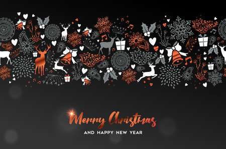Merry Christmas and Happy New Year greeting card with copper ornament decoration pattern on black background. Xmas season illustration for holiday event.  Stock Illustratie