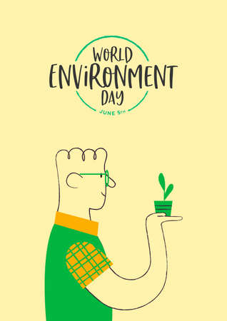 World Environment Day illustration of happy man growing green plant. Retro style cartoon for ecology and nature conservation. 일러스트