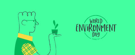 World Environment Day banner of happy man growing green plant. Retro style cartoon for ecology and nature conservation. Stock Illustratie