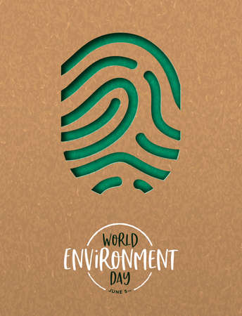 World Environment Day greeting card illustration of green papercut finger print. Nature care concept for ecology event.