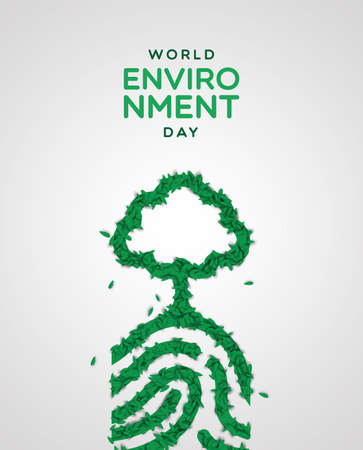 World Environment Day greeting card illustration. Realistic human fingerprint concept made of green plant leaves. Nature care concept for ecology event. Stock Illustratie