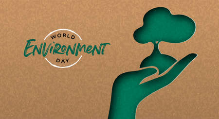 World Environment Day greeting card illustration of green papercut hand with tree. Nature care concept for ecology event. Archivio Fotografico - 130838769