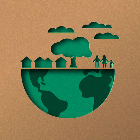 Papercut world map illustration. Green city and people in recycled paper for sustainable lifestyle.