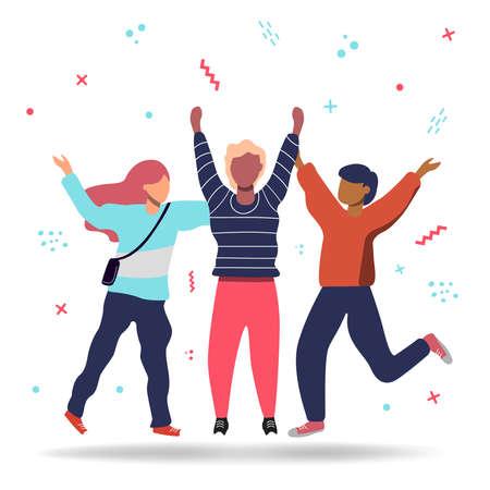 Grupo de tres amigos felices saltando en estilo de dibujos animados plana. Concepto de ilustración colorida amistad. Ilustración de vector