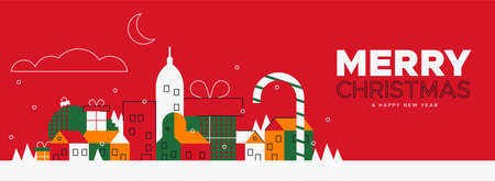 Merry Christmas web banner illustration with colorful winter city and holiday ornaments in vintage colors. Illustration