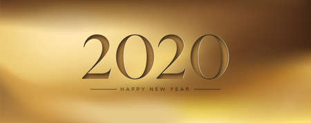 3Dペーパーカット番号と豪華な金の背景のハッピーニューイヤー2020ウェブバナーイラスト。  イラスト・ベクター素材
