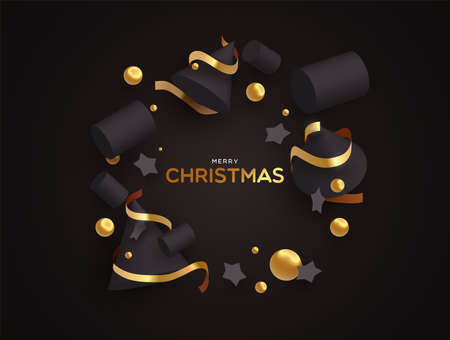 Merry Christmas greeting card illustration. Abstract 3d ornaments on black color background with luxury gold decoration. Illustration