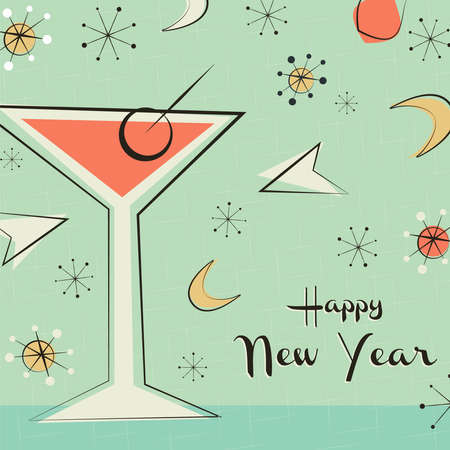 Happy New Year greeting card illustration of retro style cocktail drink glass and vintage mid century decoration.