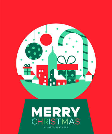 Merry Christmas Happy New Year greeting card illustration of colorful city inside snow globe in traditional festive colors.