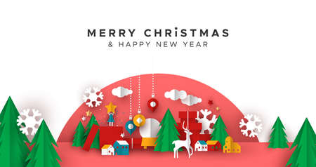 Merry Christmas Happy New Year greeting card illustration of papercut holiday decoration landscape. Festive paper craft includes gift box, toys, pine tree and winter snowflakes.