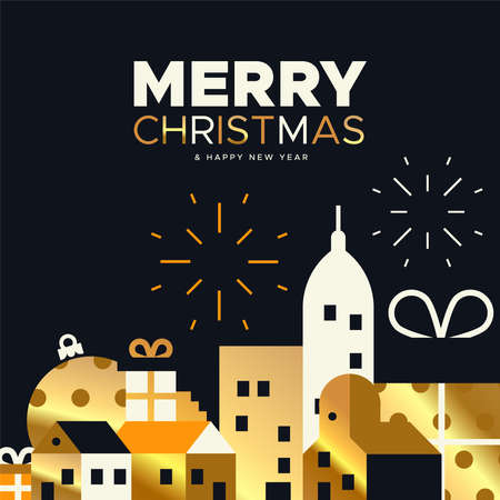 Merry Christmas greeting card illustration of festive holiday city in luxury gold colors. Includes gift box houses, bauble and fireworks. Vettoriali