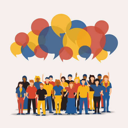 Big people group with colorful chat bubbles. Diverse men and women team together for online communication or network concept. Векторная Иллюстрация
