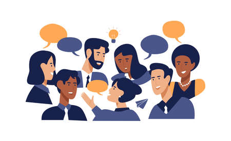 Diverse office people talking at brainstorming business meeting. Professional multi ethnic work colleagues in conversation with speech bubbles on isolated white background