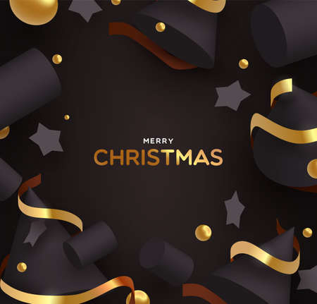 Merry Christmas greeting card illustration of abstract 3d ornaments. Luxury holiday design with black shapes, stars and elegant gold ribbons.