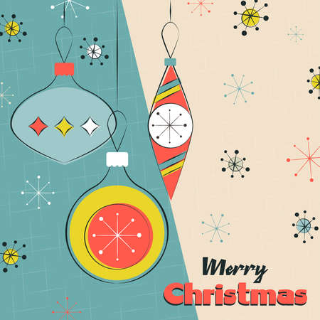 Merry Christmas greeting card illustration. Retro xmas hanging ornament baubles season background.