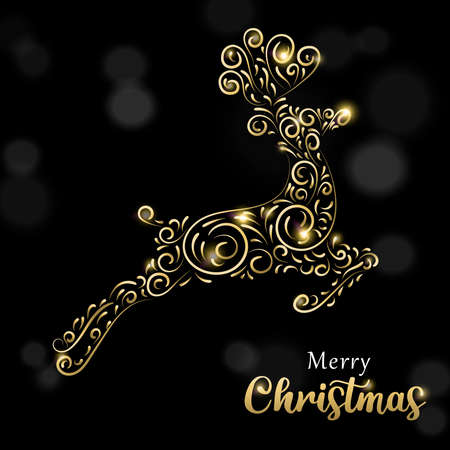 Merry Christmas greeting card illustration in gold and black with reindeer silhouette. Ideal for holiday greeting card, poster or web. Illustration
